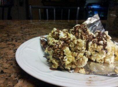 Chocolate Drizzled Popcorn Balls