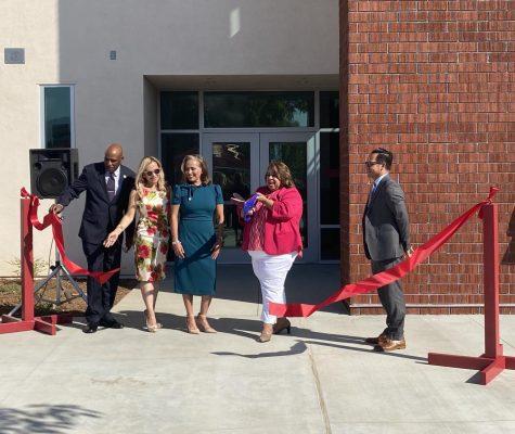 West Covina Board of Education Clerk Michael Flowers, Member Juanita Cruz, Vice President Dr. Rose Lopez, President Eileen Miranda-Jimenez, and Member Joe Magallanes celebrate the opening of WCHS new CTE/Science Building on Tuesday.